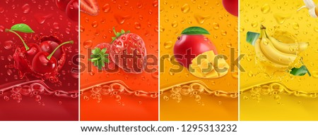 Vruchten splash ingesteld vruchten spatten Stockfoto © lucia_fox