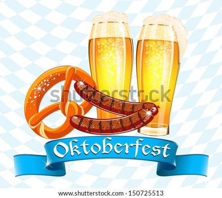 Beer mug and flag of Germany - symbol Oktoberfest. Vector illust Stock photo © popaukropa