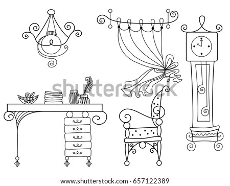 Hand drawn chair, desk, window. On the table is a vase with a flower. Vector illustration in sketch  Stock photo © Arkadivna