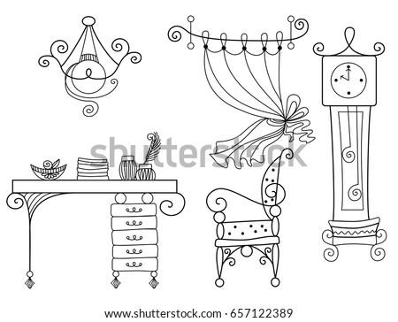 linear · Skizze · Innenraum · Hand · gezeichnet · Stil · Tabelle - stock foto © arkadivna