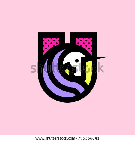 cheerful unicorn head with cool violet hair emblem of u letter stock photo © ussr