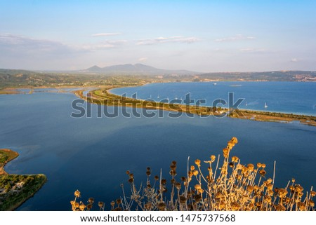 View of Divari Beach and the Divari lagoon in the Peloponnese region of Greece, from the Palaiokastr Stock photo © ankarb