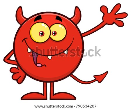 Piros ördög rajz karakter integet üdvözlet Stock fotó © hittoon