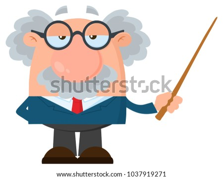 professor or scientist cartoon character holding a pointer with speech bubble stock photo © hittoon