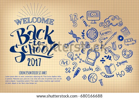 Welcome Back to school logo, school notebook paper sheet, freehand drawing background, vector illust Stock photo © ikopylov