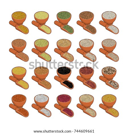 Groats in wooden bowl and spoon set. Rice and lentils. Red beans Stock photo © MaryValery