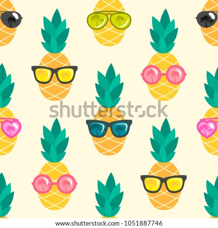 pineapple fruit with green leafs and sunglasses cartoon mascot character stock photo © hittoon