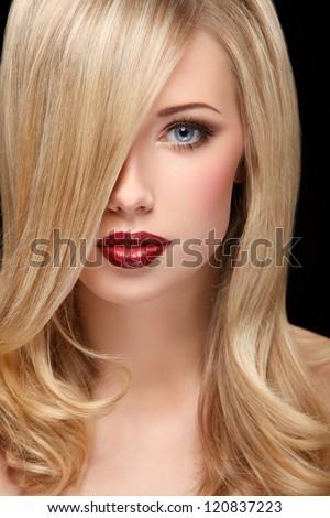 Portré lány fürtös vörös haj fedett szemek Stock fotó © FoxysGraphic