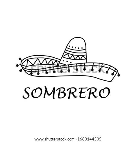 Sombrero Mexicaanse gitaar vector geïsoleerd witte Stockfoto © konturvid