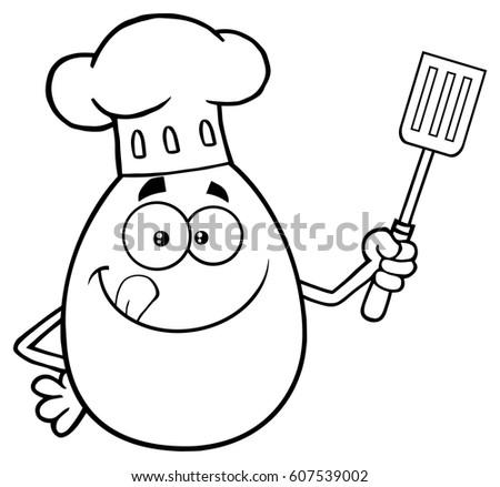 Zwart wit chef ei cartoon mascotte karakter lippen Stockfoto © hittoon