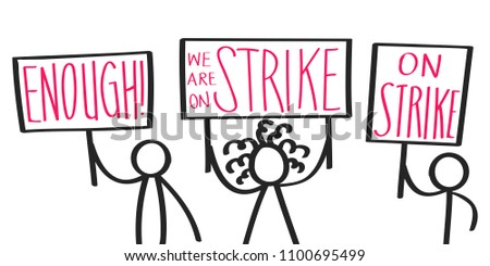 Stick figures marching on a demonstration and holding up signs in the air Stock photo © Ustofre9