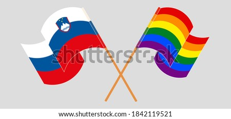 Slovenia LGBT flag. Slovenian Symbol of tolerant. Gay sign rainb Stock photo © popaukropa