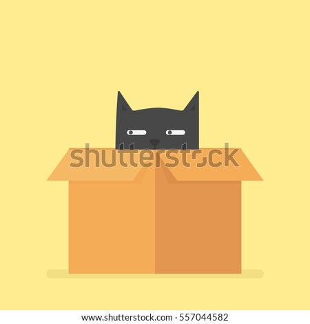 Black Box with kittens. Cats in cardboard box. Vector illustrati Stock photo © popaukropa