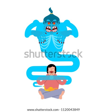 Evil Genie of magic lamp. Guy afraid is Fiery Scary monster. Vec Stock photo © popaukropa