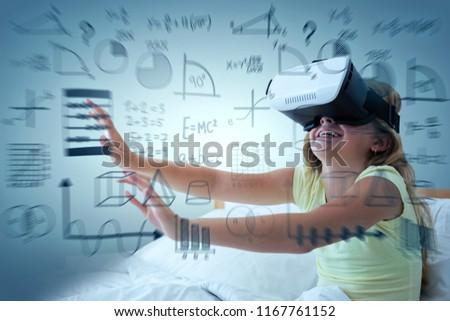 Smiling boy using virtual reality simulator against full frame shot of green background Stock photo © wavebreak_media