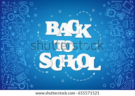 Stock photo: Back to School banner with texture from line art icons of education, science objects and office supp