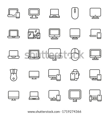 Stock photo: Linear Database, Server Isolated Flat Web Mobile Icon with gear icon. Vector Illustration isolated o
