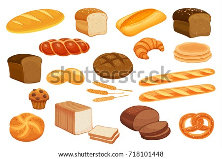 set vector bread icons rye whole grain and wheat bread pretzel muffin croissant bagel french stock photo © marysan