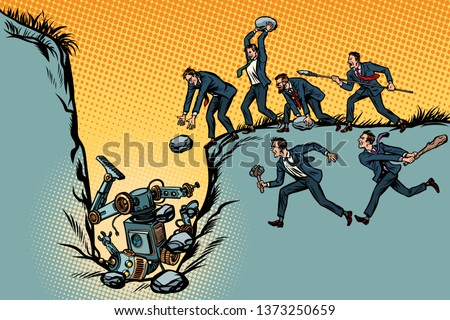 Savages businessmen kill the robot. Fight for jobs. People again Stock photo © studiostoks