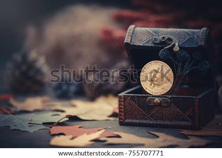 Poitrine bitcoin boîte monnaie pièces Photo stock © popaukropa