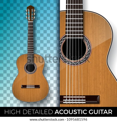 Acoustic guitar isolated on transparent background. High detailed vector illustration for invitation Stock photo © articular
