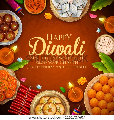 Burning diya with assorted sweet and snack on Happy Diwali Holiday background for light festival of  Stock photo © vectomart
