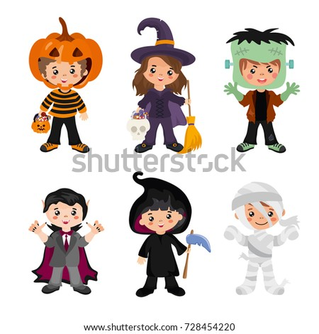 Set Halloween monsters witch on broom, frankenstein, vampire dracula, zombie mummy Stock photo © orensila