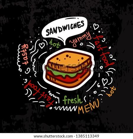 hambúrguer · cachorro-quente · conjunto · pôsteres · fast-food · americano - foto stock © marysan
