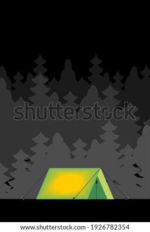 Tienda forestales noche dentro luz aislado Foto stock © popaukropa