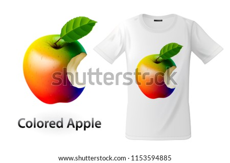 Modern t-shirt print design with colored bitten apple, use for sweatshirts and souvenirs, cases for  Stock photo © ikopylov