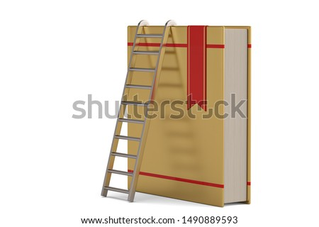 books and staircase on white background. Isolated 3D illustratio Stock photo © ISerg