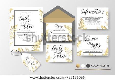 şık düğün davetiyesi şablon yaprakları altın stil Stok fotoğraf © SArts