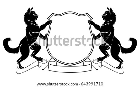 cat shield heraldic symbol sign pet for coat of arms royal kit stock photo © maryvalery