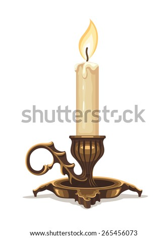 burning old candle vintage vector candlestick. Isolated On White Background Stock photo © MarySan