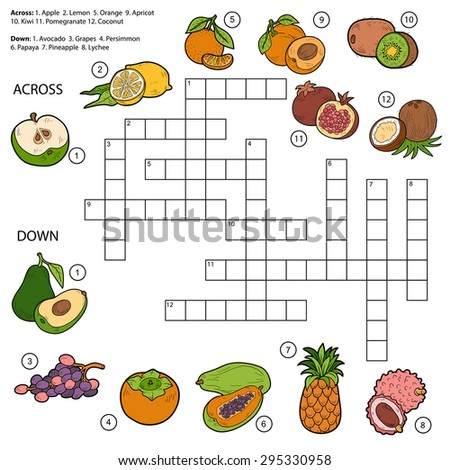 Vetor palavras cruzadas educação jogo crianças frutas Foto stock © Natali_Brill