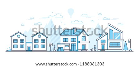 city architecture   modern thin line design style vector illustration stock photo © decorwithme