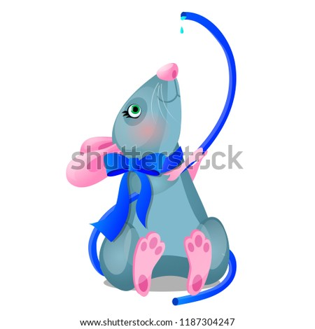 Gray animated mouse drinks water from a blue hose isolated on white background. Vector cartoon close Stock photo © Lady-Luck