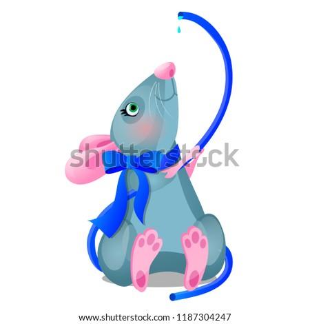 weinig · grijs · muis · geïsoleerd · witte · baby - stockfoto © lady-luck