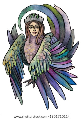 personnage · oiseau · visage · de · femme · isolé · blanche · vecteur - photo stock © Lady-Luck