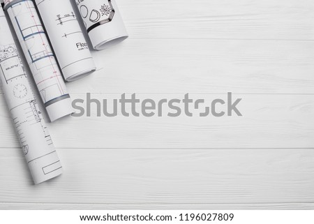 Architect wood table project with professional equipment background. Vector illustration design Stock photo © Linetale
