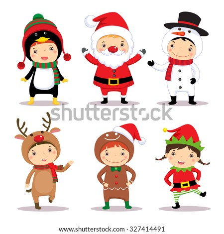 Christmas Children Set Vector. Santa Hat. Boys And Girls. December. Isolated Cartoon Illustration Stock photo © pikepicture