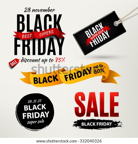 black friday sale grunge poster red special offer text banner with grunge black ink drops isolated stock photo © iaroslava