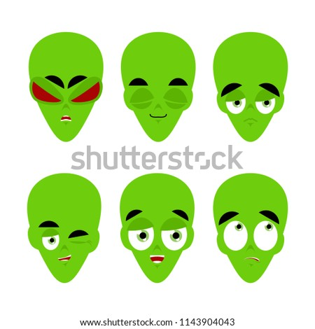 Green alien emoji. emotion set. Aggressive and good UFO face. Su Stock photo © popaukropa