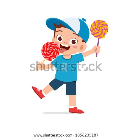 Little Boy Treats An Ice Cream To A Little Girl Vector. Isolated Illustration Stock photo © pikepicture
