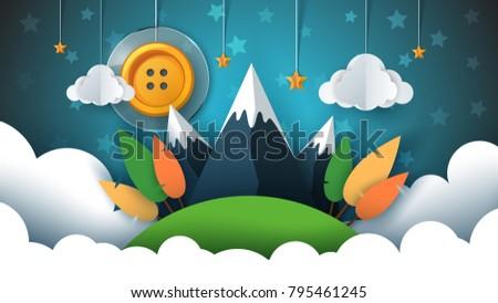 cartoon · papieru · krajobraz · górskich · Chmura · słońce - zdjęcia stock © rwgusev