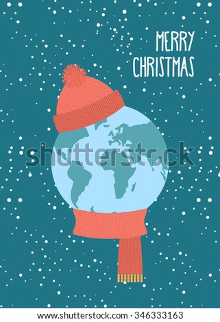 Merry Christmas. Planet Earth winter. Knitted scarf and hat. Sno Stock photo © popaukropa
