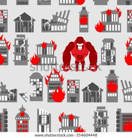 King Kong Ruined building seamless pattern. Dangerous Big Gorill Stock photo © popaukropa