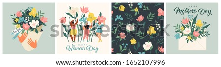 Summer time graphic illustration with flowers. Vector background Stock photo © popaukropa