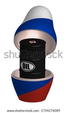 Matryoshka and barrel oil. Russian folk doll. National toy. trad Stock photo © popaukropa
