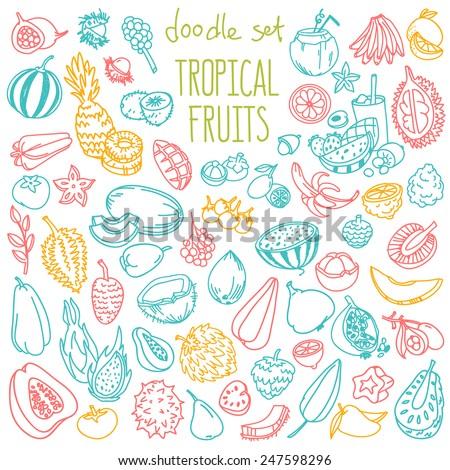 Various juicy exotic fruits - lychee, pineapple, carambola, litchi, dragon fruit on a gray wooden ta Stock photo © artjazz